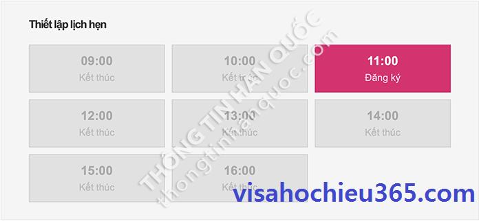Bước 2: Chọn khung giờ muốn nộp trong mục THIẾT LẬP LỊCH HẸN, có 8 khung giờ để chọn, lần lượt là 09:00, 10:00, 11:00, 12:00, 13:00, 14:00, 15:00 và 16:00. Nhấn vào khung giờ muốn đặt lịch hẹn và còn trống để chọn.